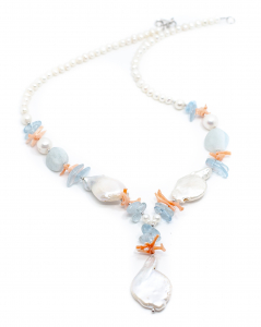 Colier Creatie Perla,Coral,Acvamarin0